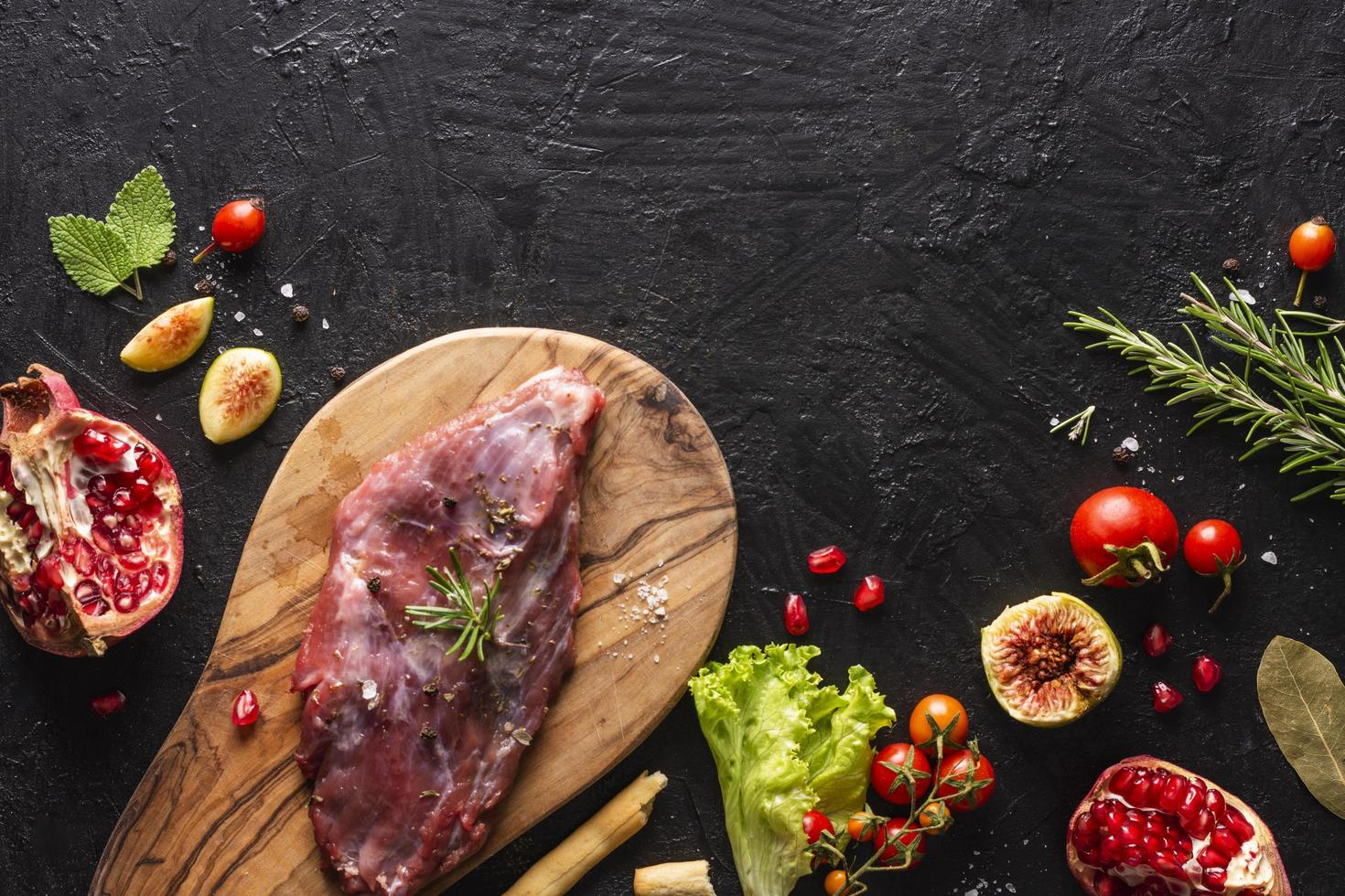 Flat lay meat concept with copy space photo