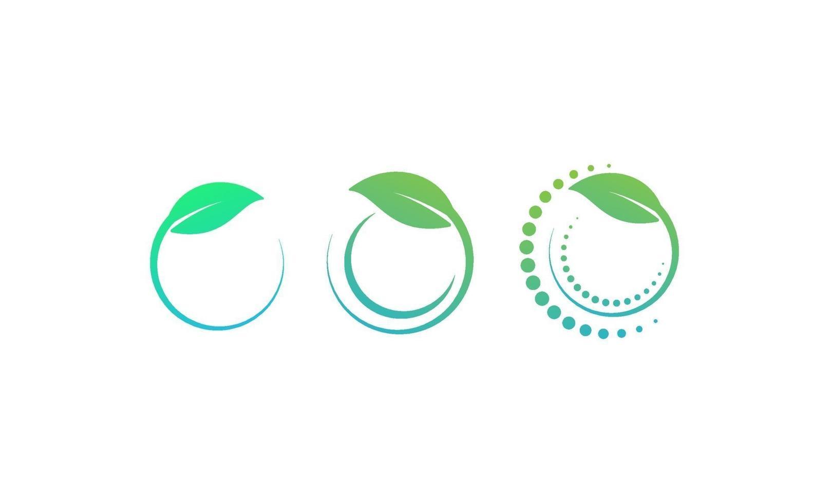 círculo hoja eco vector logo plantilla