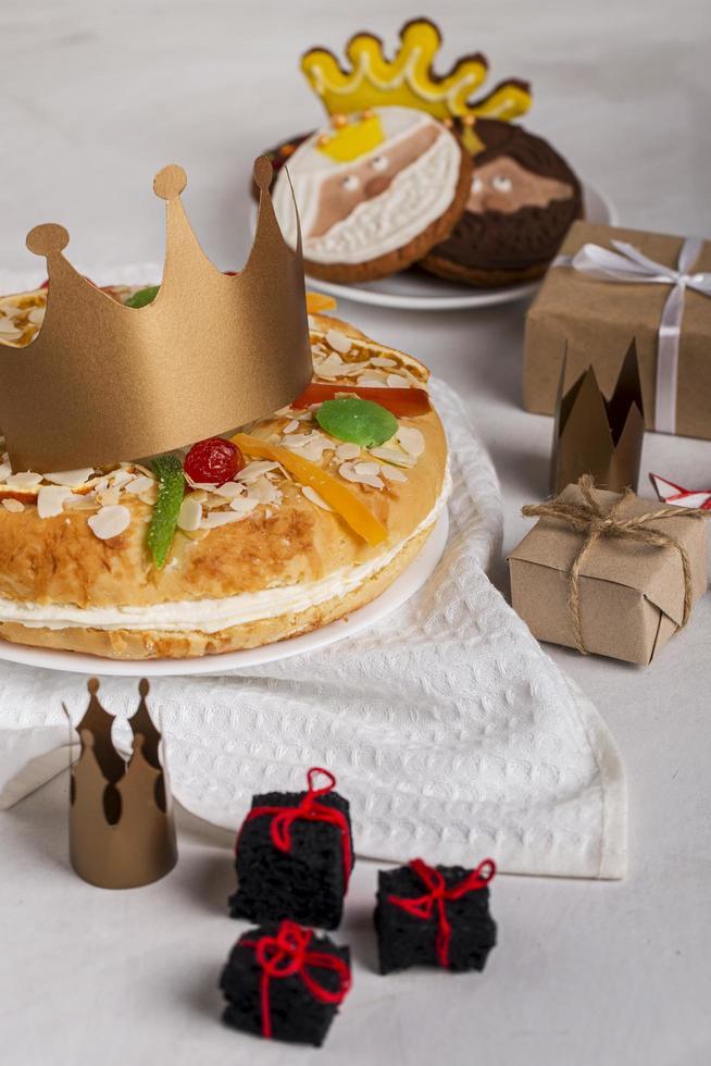 Happy Epiphany food, top view photo