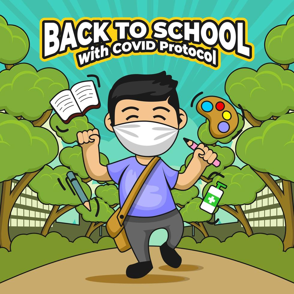 Back To School with COVID Protocol vector