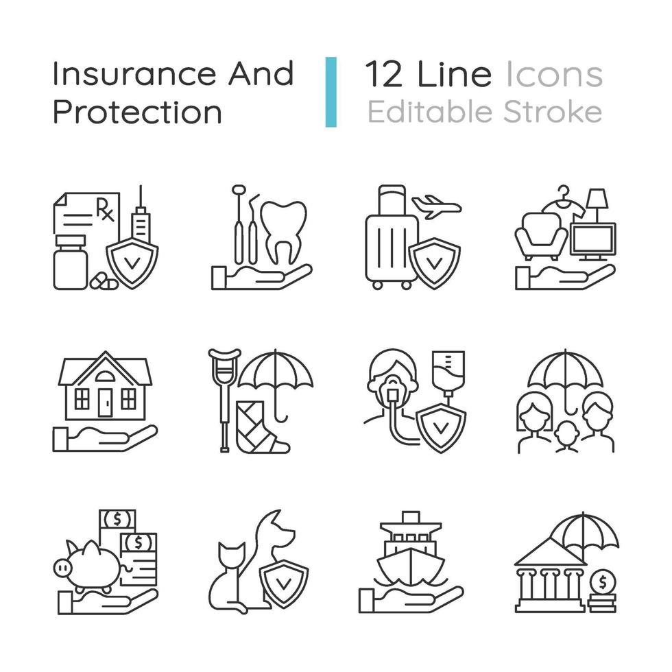 conjunto de iconos lineales de seguros y protección vector