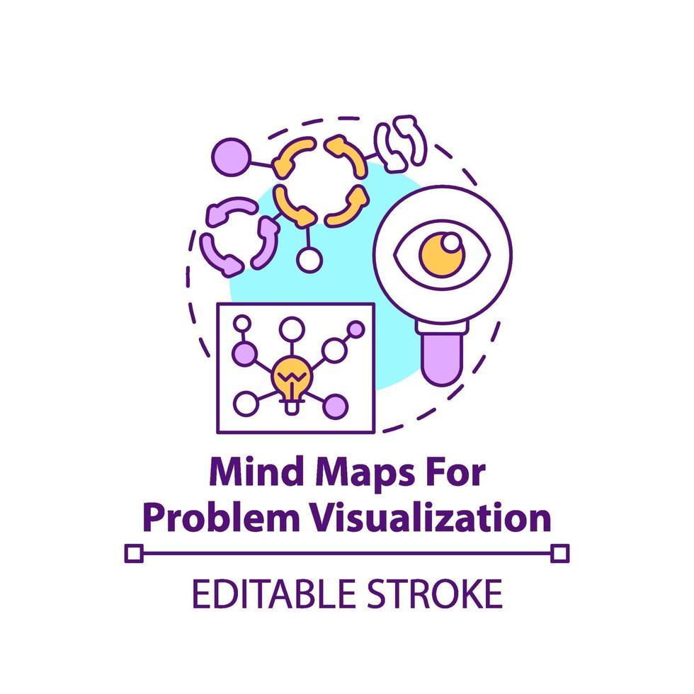 Mapas mentales para el icono del concepto de visualización de problemas vector