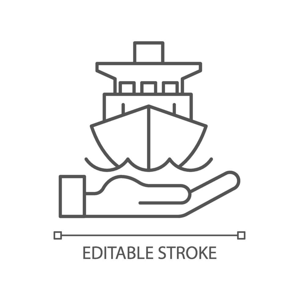 icono lineal de seguros marinos vector