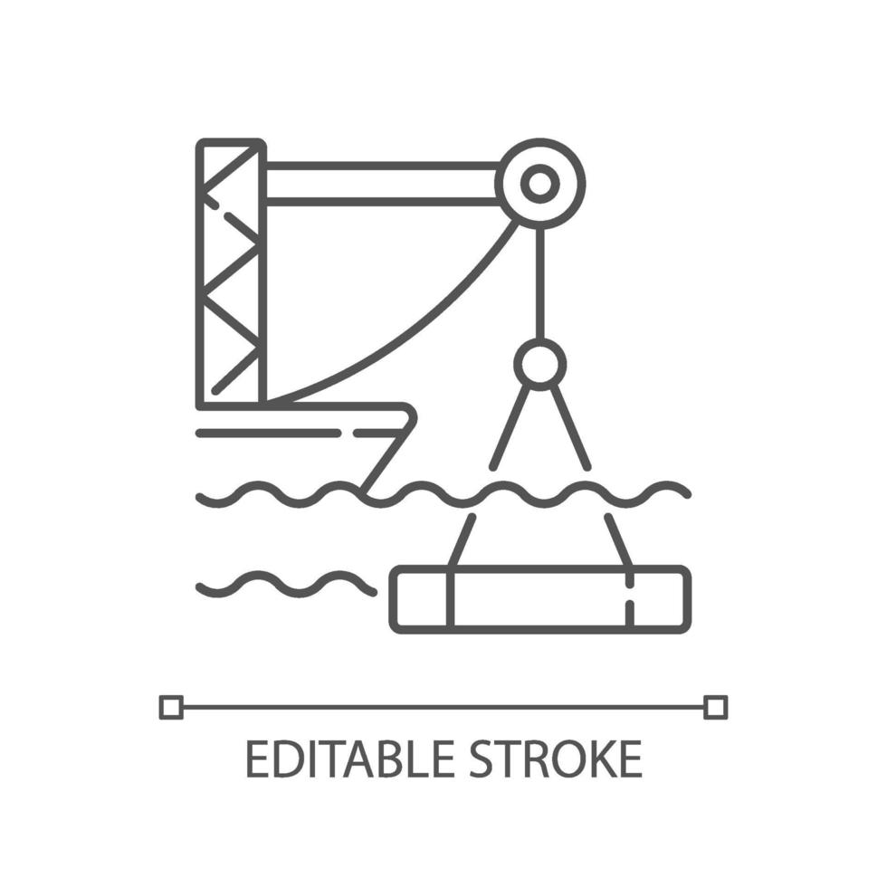 icono lineal de construcción submarina vector