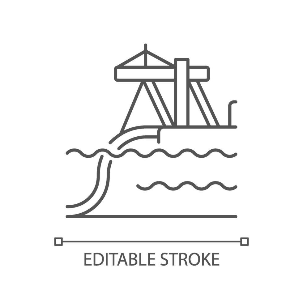 icono lineal de instalación de tubería submarina vector