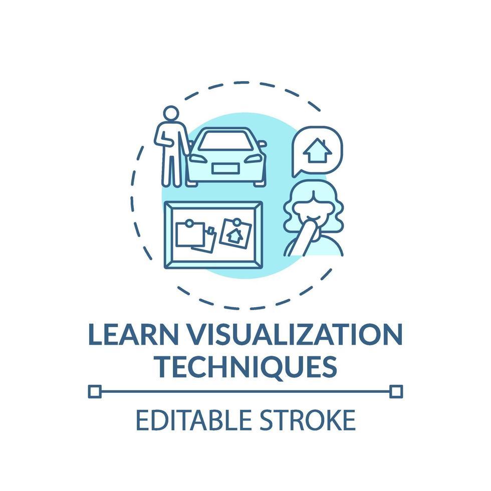 Aprender la técnica de visualización icono de concepto turquesa vector