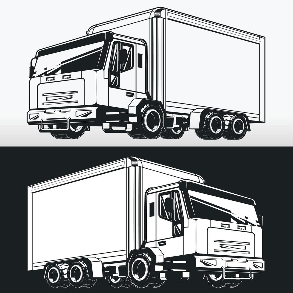 Silhouette of Cargo Box Delivery Truck, Stencil Vector Drawing