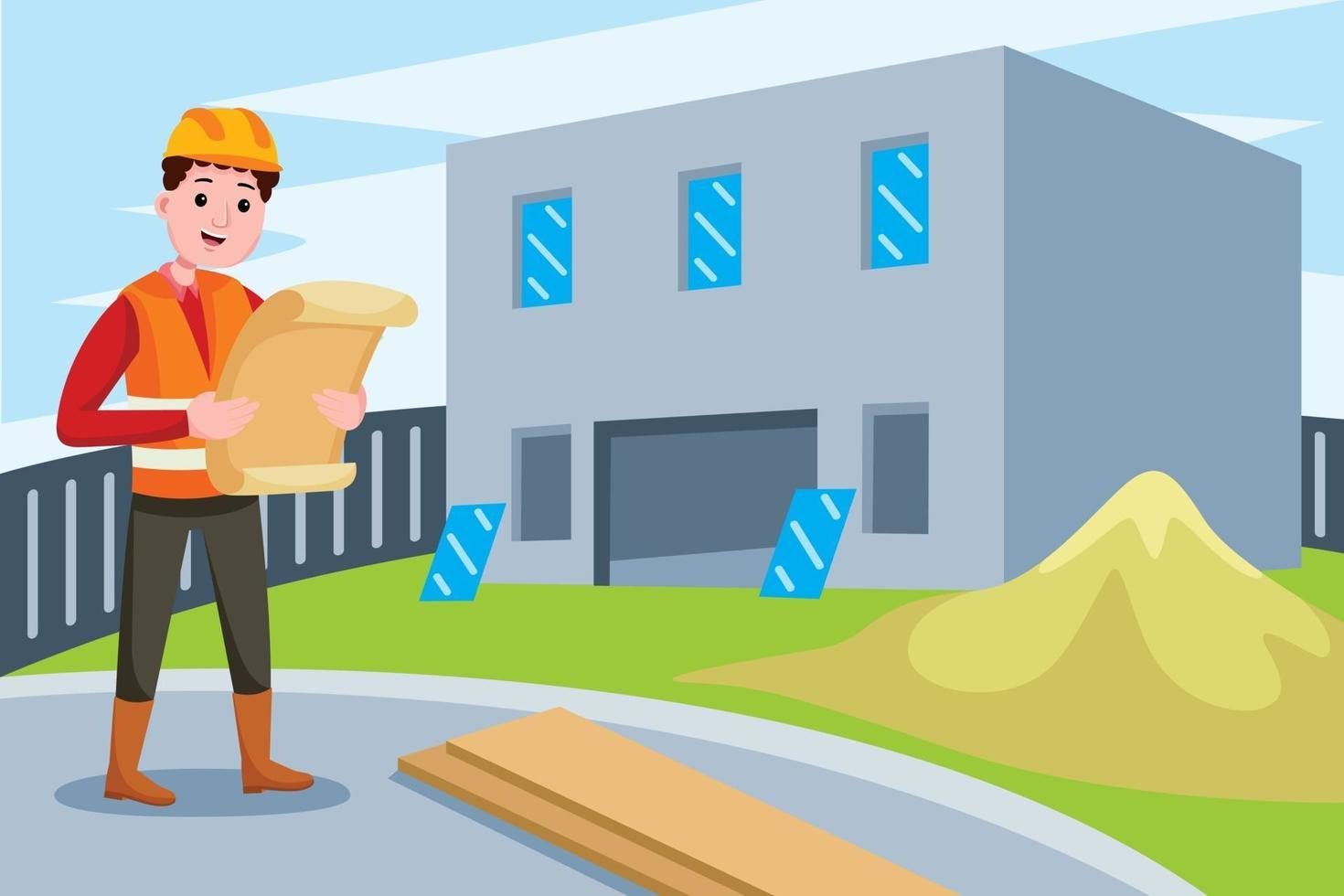 Construction Engineer profession in flat design style. vector
