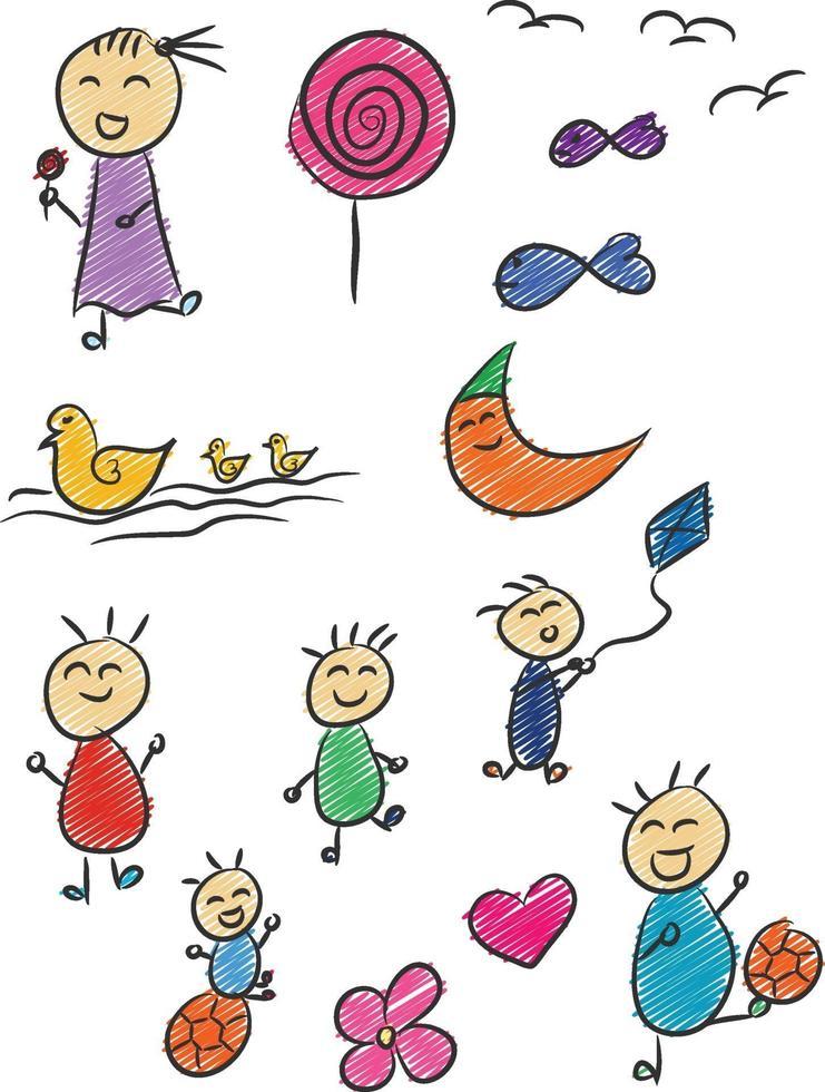 Doodle de niño, dibujo de niños, ilustración de vector de dibujos animados de infancia