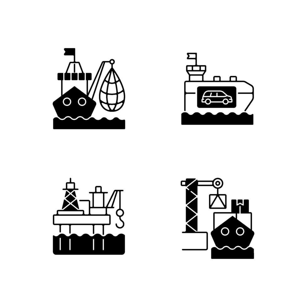Conjunto de iconos lineales negros del sector de la industria marina vector