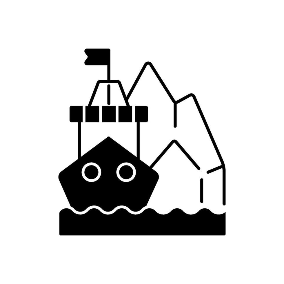 icono lineal negro de exploración ártica vector
