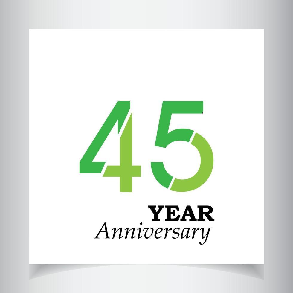 Ilustración de diseño de plantilla de vector de color verde de celebración de aniversario de 45 años