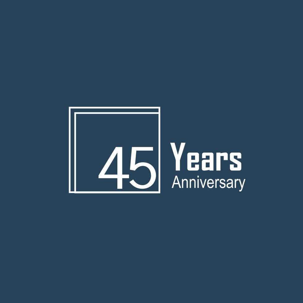 Ilustración de diseño de plantilla de vector de color azul de celebración de aniversario de 45 años
