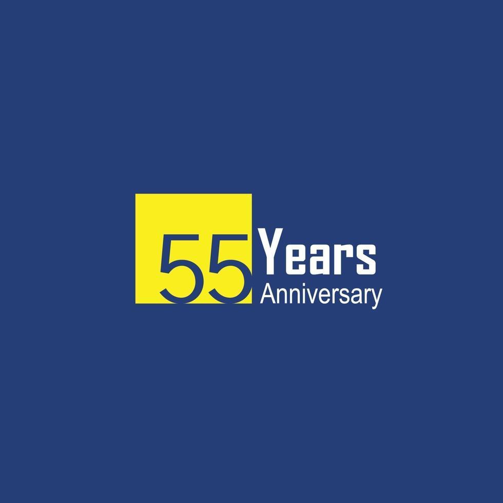 Ilustración de diseño de plantilla de vector de color azul de celebración de aniversario de 55 años
