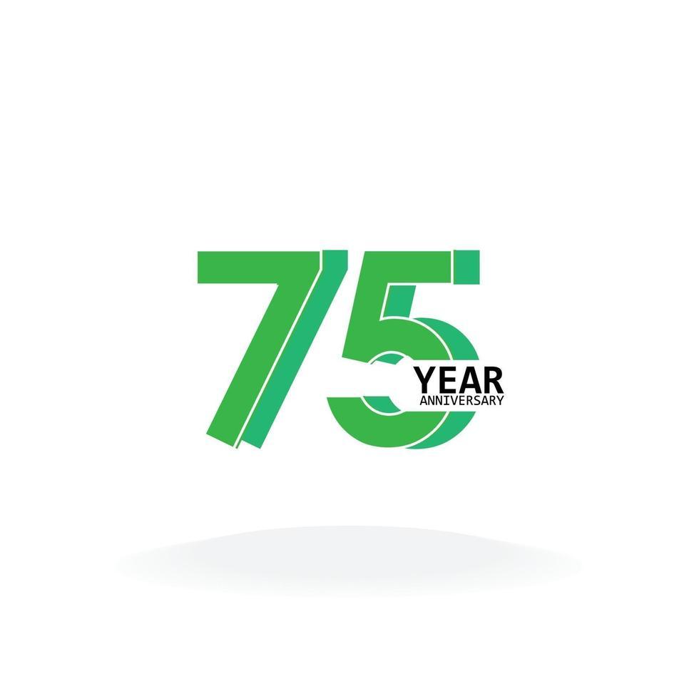 Ilustración de diseño de plantilla de vector de color verde de celebración de aniversario de 75 años