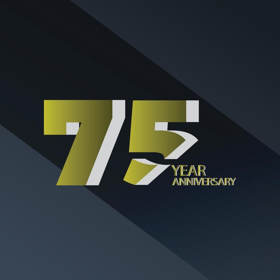 Ilustración de diseño de plantilla de vector de color de fondo negro dorado celebración de aniversario de 75 años