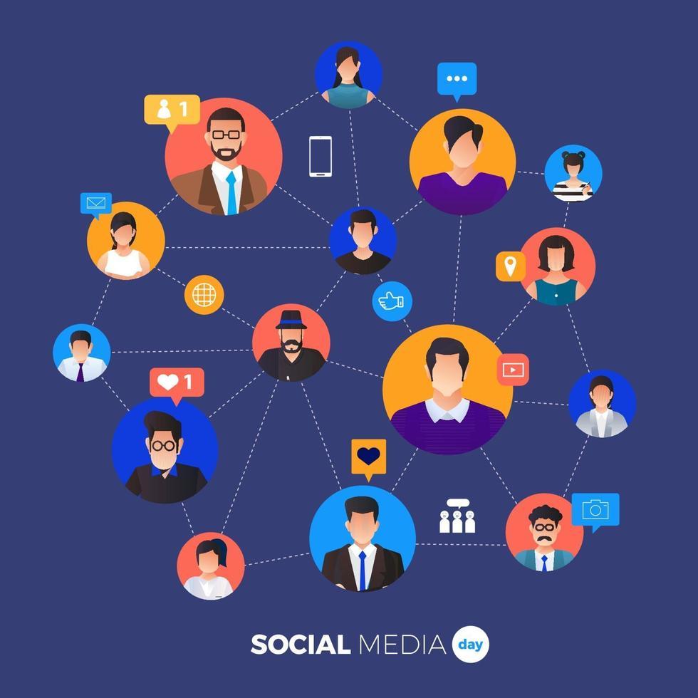 dia de las redes sociales vector