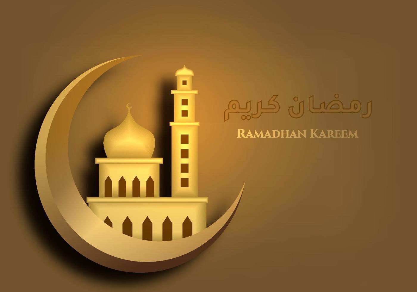 Ramadan Kareem Background With Mosque In Crescent Moon Gold Luxurious Template Ornate Element Happy Eid Fitr Eid Mubarak Islamic Motif In Gold Color Flat Cartoon Design Vector Illustration 2214326 Vector Art At