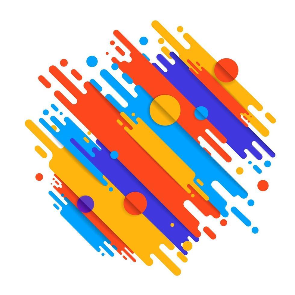 Varias líneas de formas redondeadas de colores en ritmo diagonal. ilustración vectorial de composición dinámica. elemento geométrico gráfico de movimiento. vector