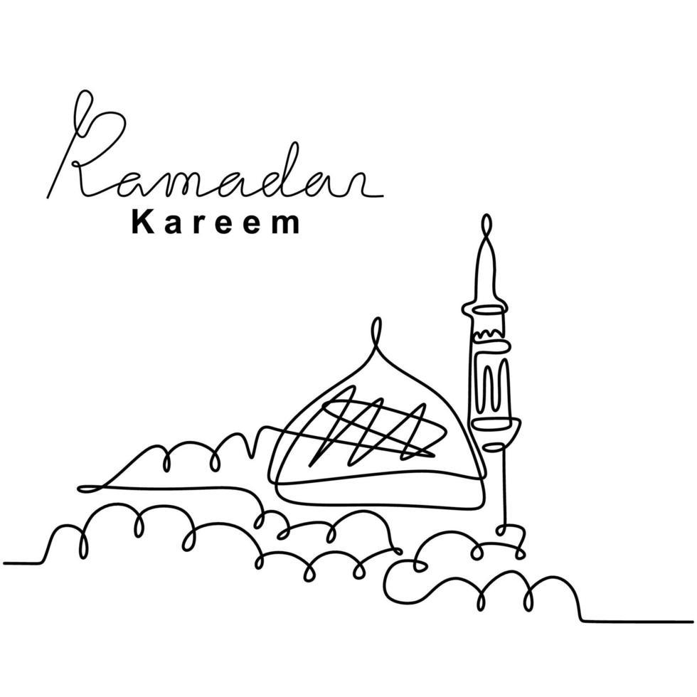 One Continuous Line Drawing Of Islamic Mosque Ramadan Kareem Handwritten Lettering Happy Eid Mubarak Eid Fitr Muslim Religion Holiday Celebration Hand Drawn Line Art Minimalism Style 2214838 Vector Art At Vecteezy