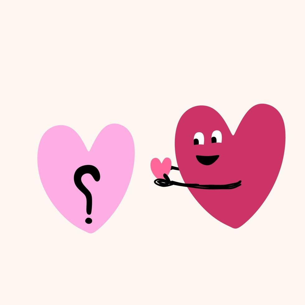 un corazón, símbolo de amor en color rosa para el día de san valentín. dulce pareja romántica en el amor concepto aislado sobre fondo blanco. ilustración vectorial en estilo de dibujos animados plana diseño moderno vector