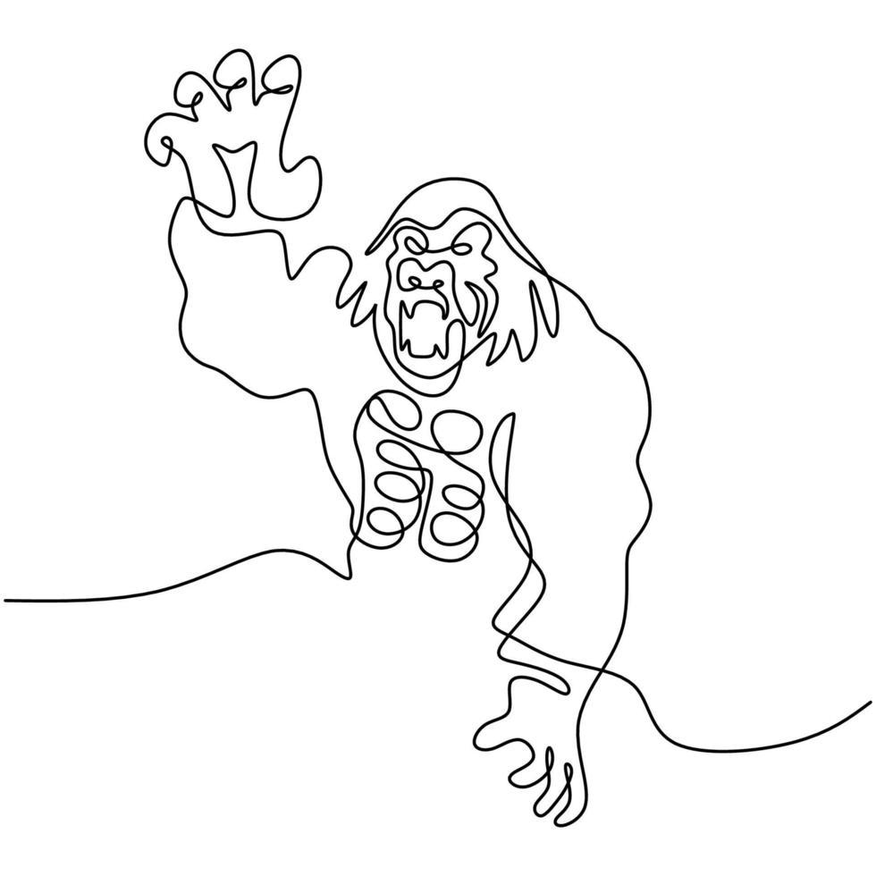 un dibujo de línea continua de gorila para la identidad del logotipo del parque nacional. estilo minimalista del animal del primate del mono grande enojado en el fondo blanco. concepto de mascota de animal salvaje para el icono forestal de conservación. vector