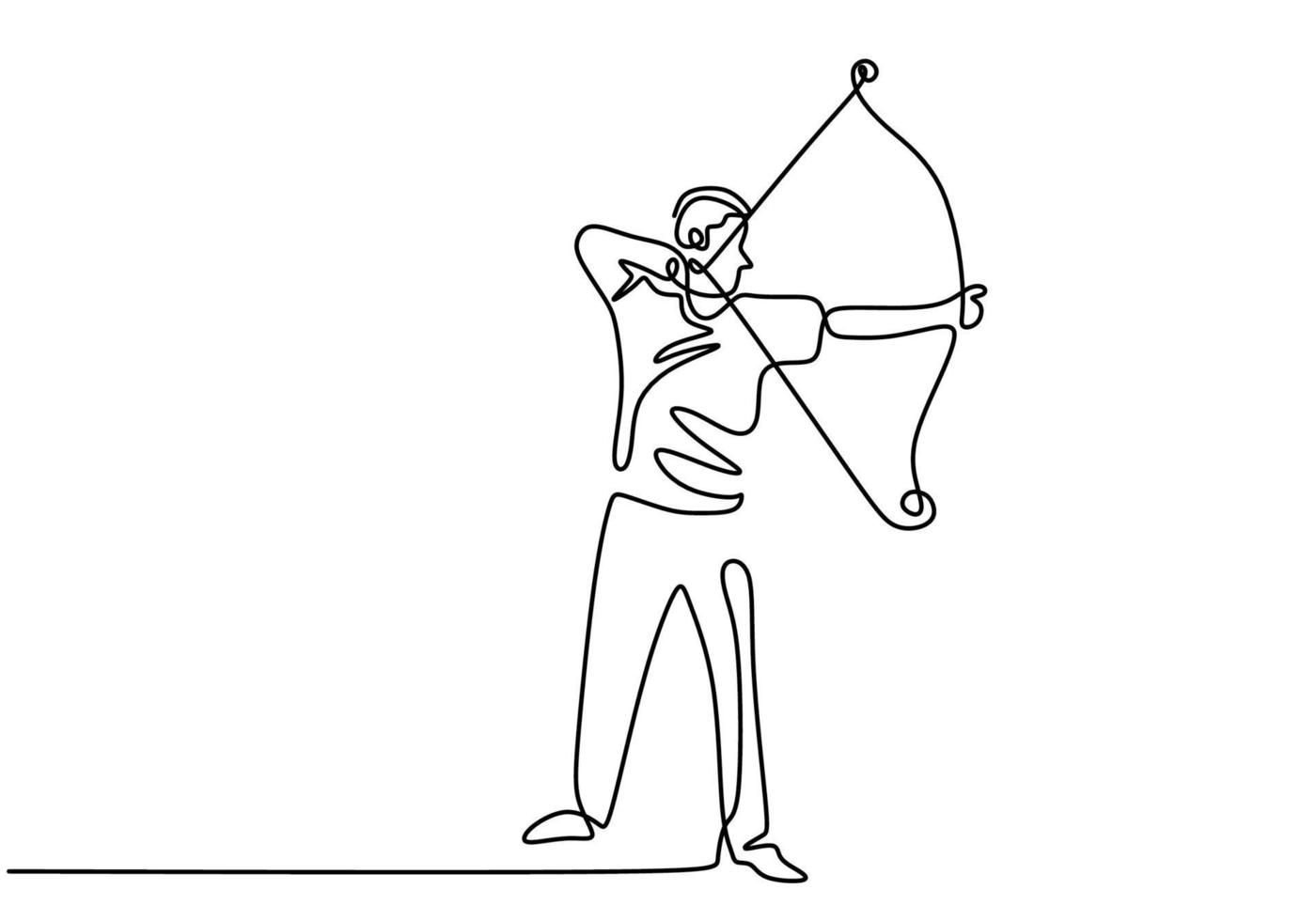 Continuous line drawing of young professional archer man, standing and focus to shooting the target. Healthy refresh shooting with bow. Archery sport theme isolated on white background vector