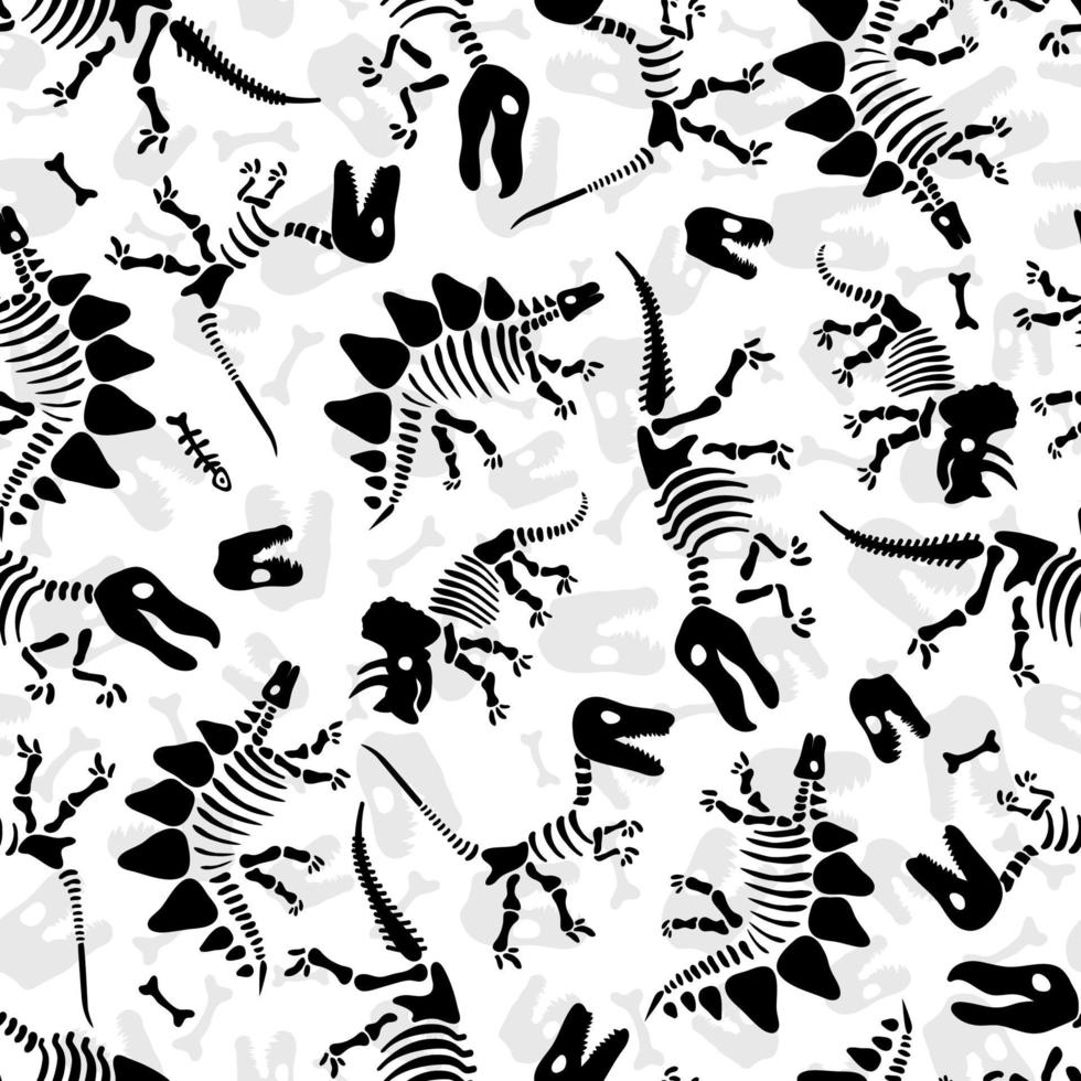 Dinosaur skeleton and fossils. Vector seamless pattern. Original design with dinosaur bones and traces. Print for T-shirts, textiles, web.