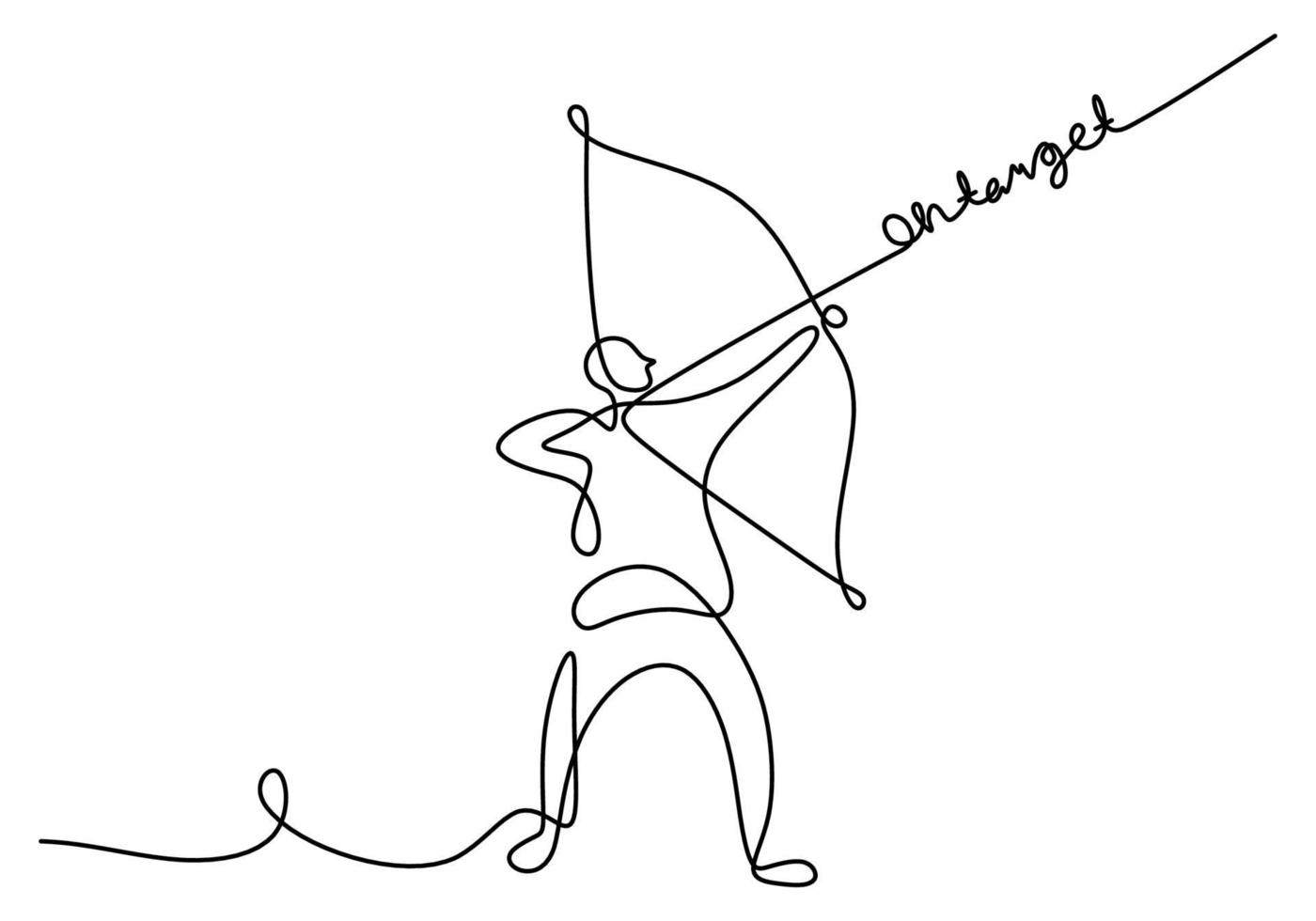 Continuous one line drawing of young energetic archer woman pulling the bow to shooting an archery target. A professional archer female focus to hit target hand drawn with minimalist design vector