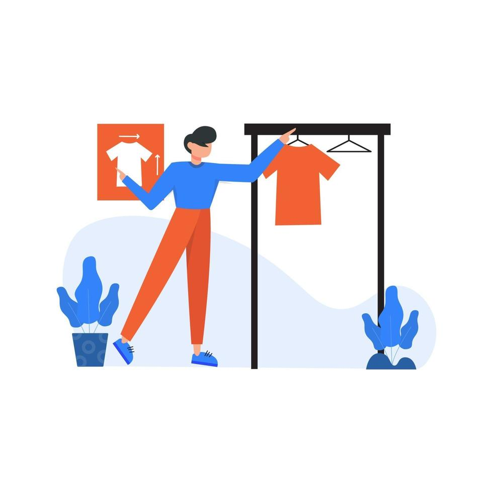 Clothing designer design and display their work in public places vector illustration