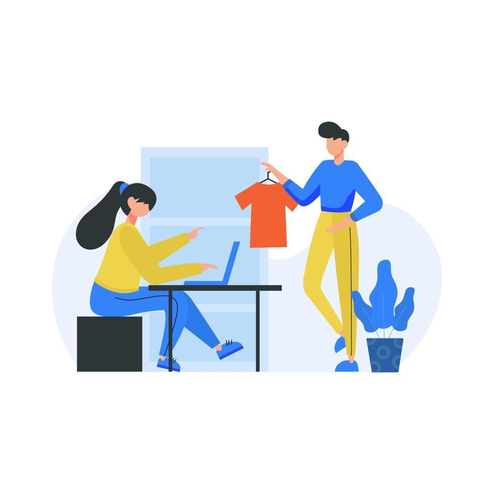 Clothing designers design and display their work in public places vector illustration
