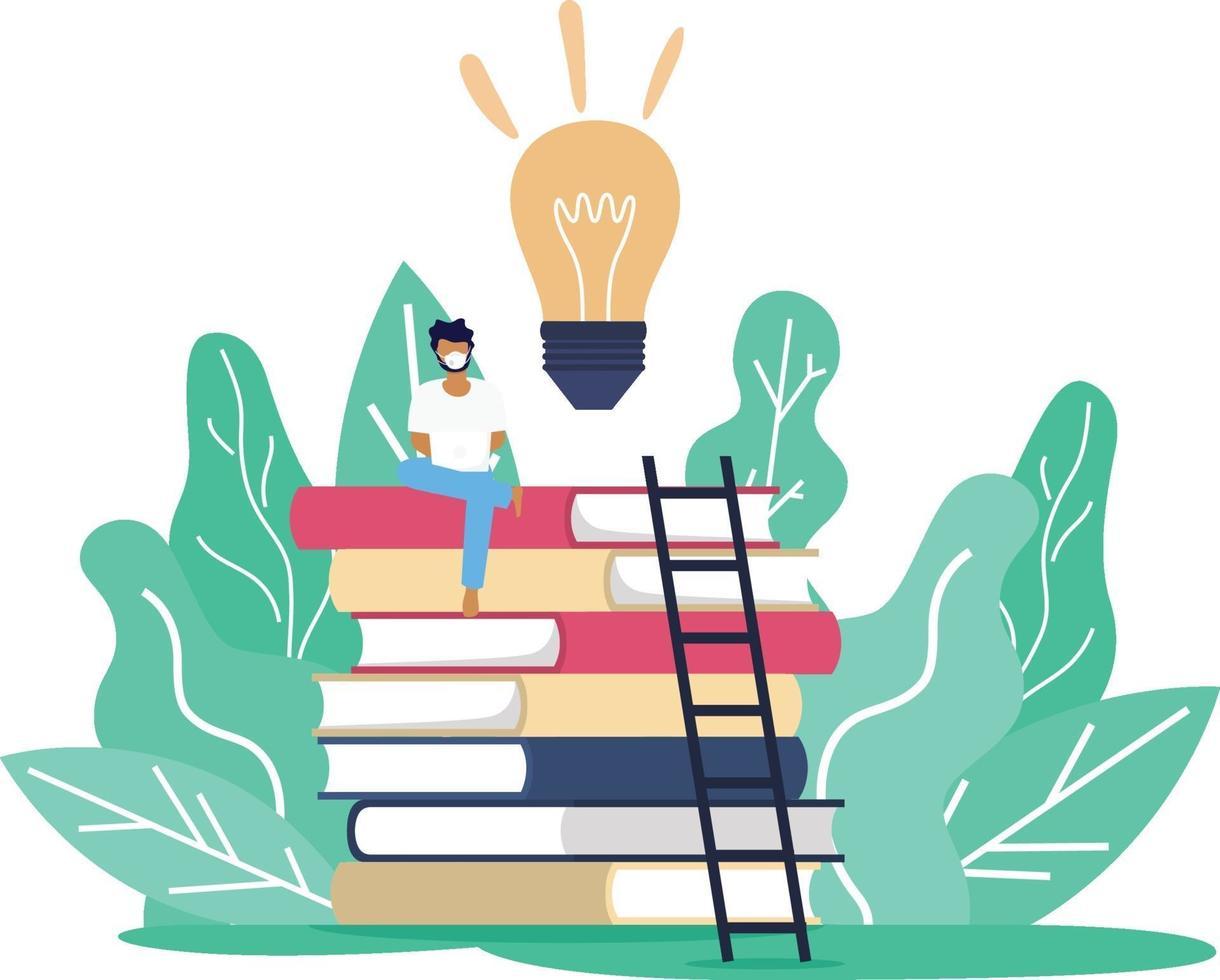 un hombre con máscara sentado sobre la torre de libros mientras trabaja o estudia a través de Internet en línea en una situación de brote de virus corona covid19, distanciamiento social e aprendizaje educación en línea vector
