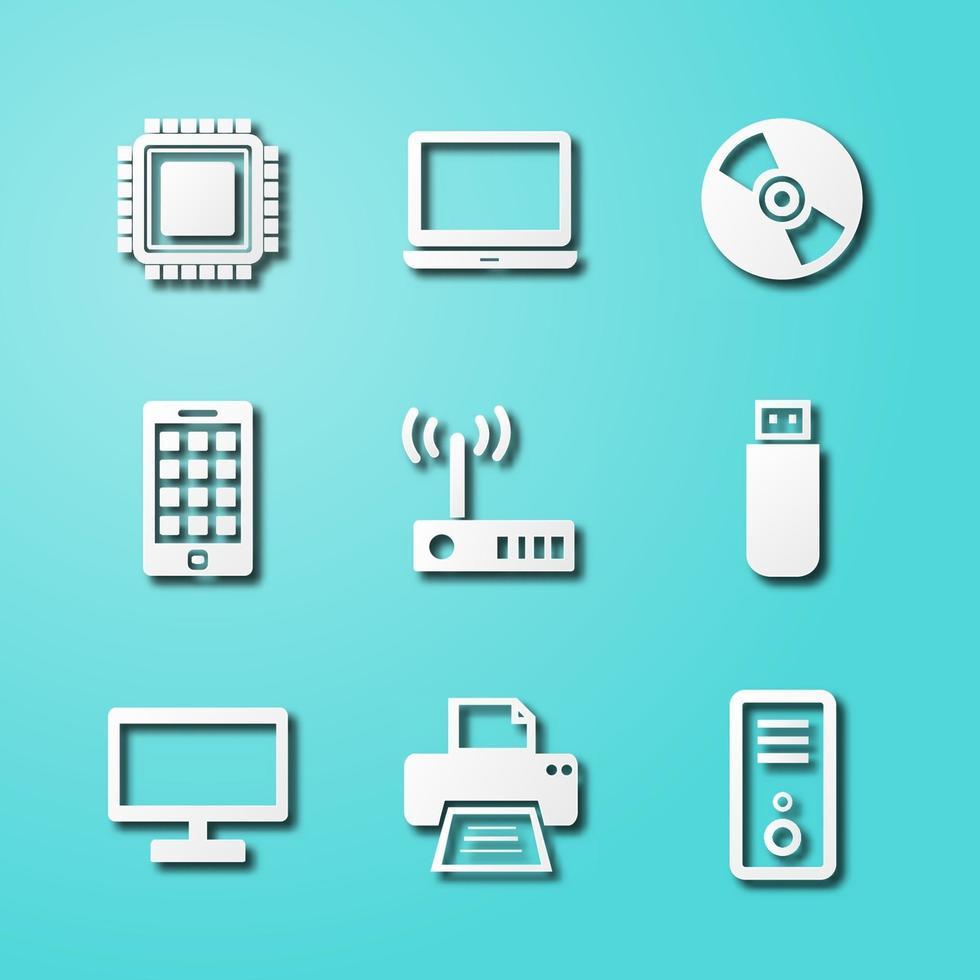 iconos de arte de papel de computadora y dispositivo vector