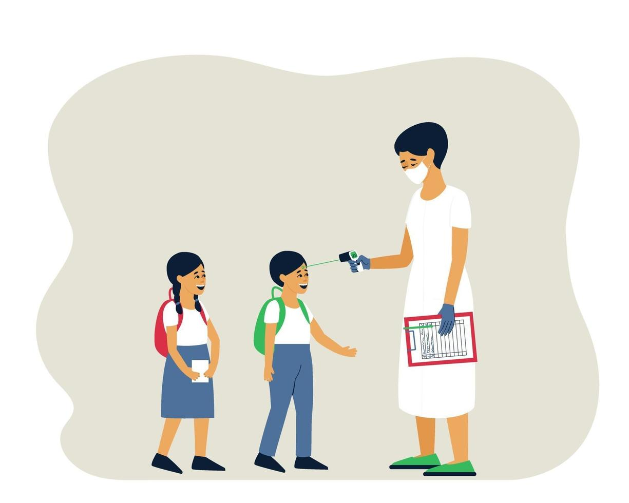 Wearing a mask, the doctor measures the temperature of the child. vector
