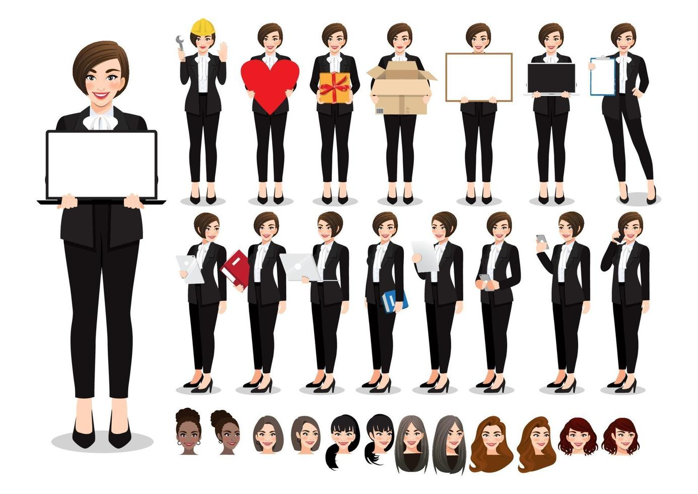 Businesswoman cartoon character pose set. Beautiful business woman in office style black suit. Vector illustration