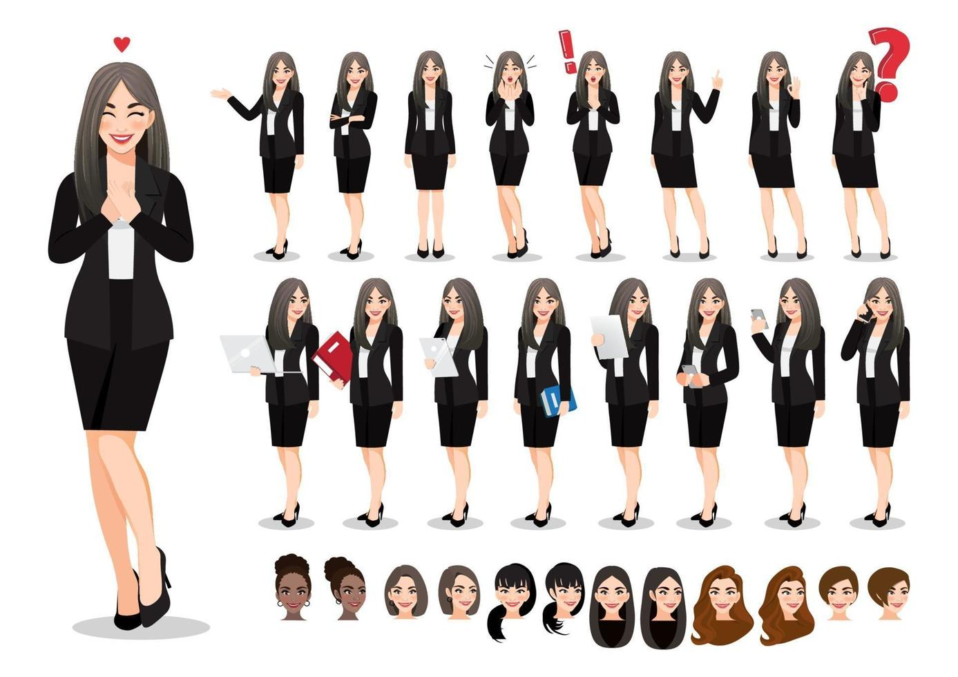 Businesswoman cartoon character set. Beautiful business woman in office style black suit. Vector illustration