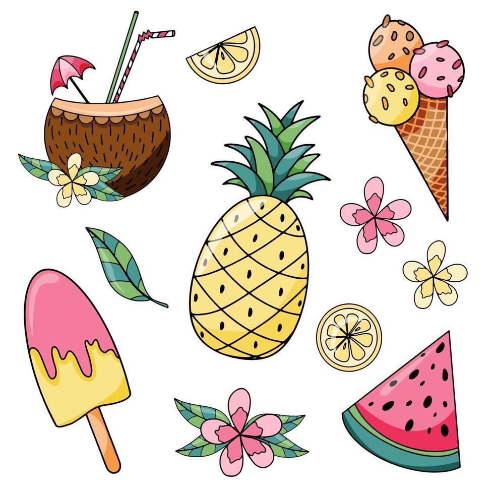 vacaciones de verano con piña, rebanada de sandía, helado, limón y paleta dibujada a mano vector