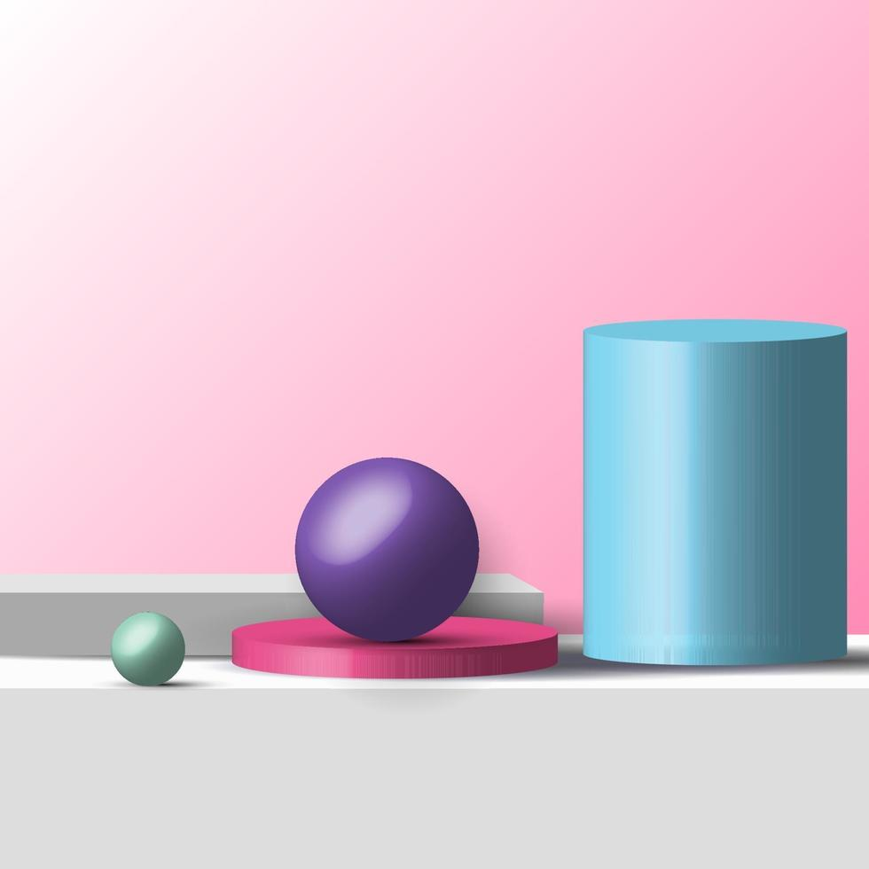 3D realistic geometric shapes pastel color product shelf standing backdrop with circle blank pedestal podium display on pink background vector