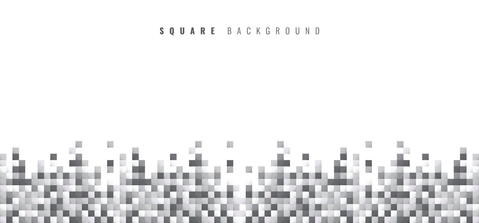 Abstract geometric white and gray squares pattern pixel background with copy space vector