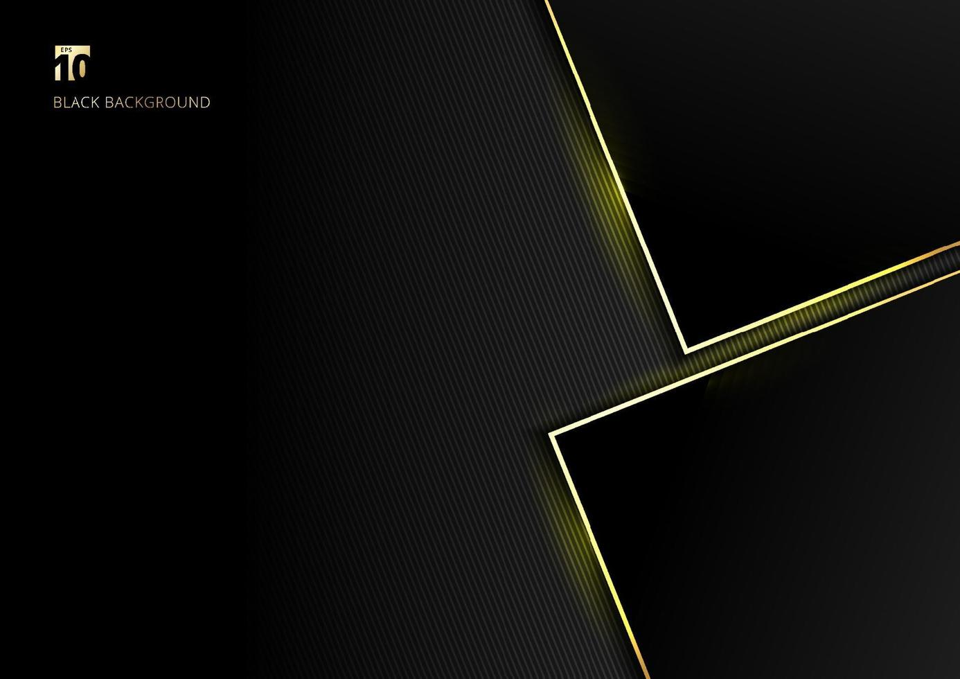 Abstract template geometric with golden border and lighting effect black background space for your text. vector