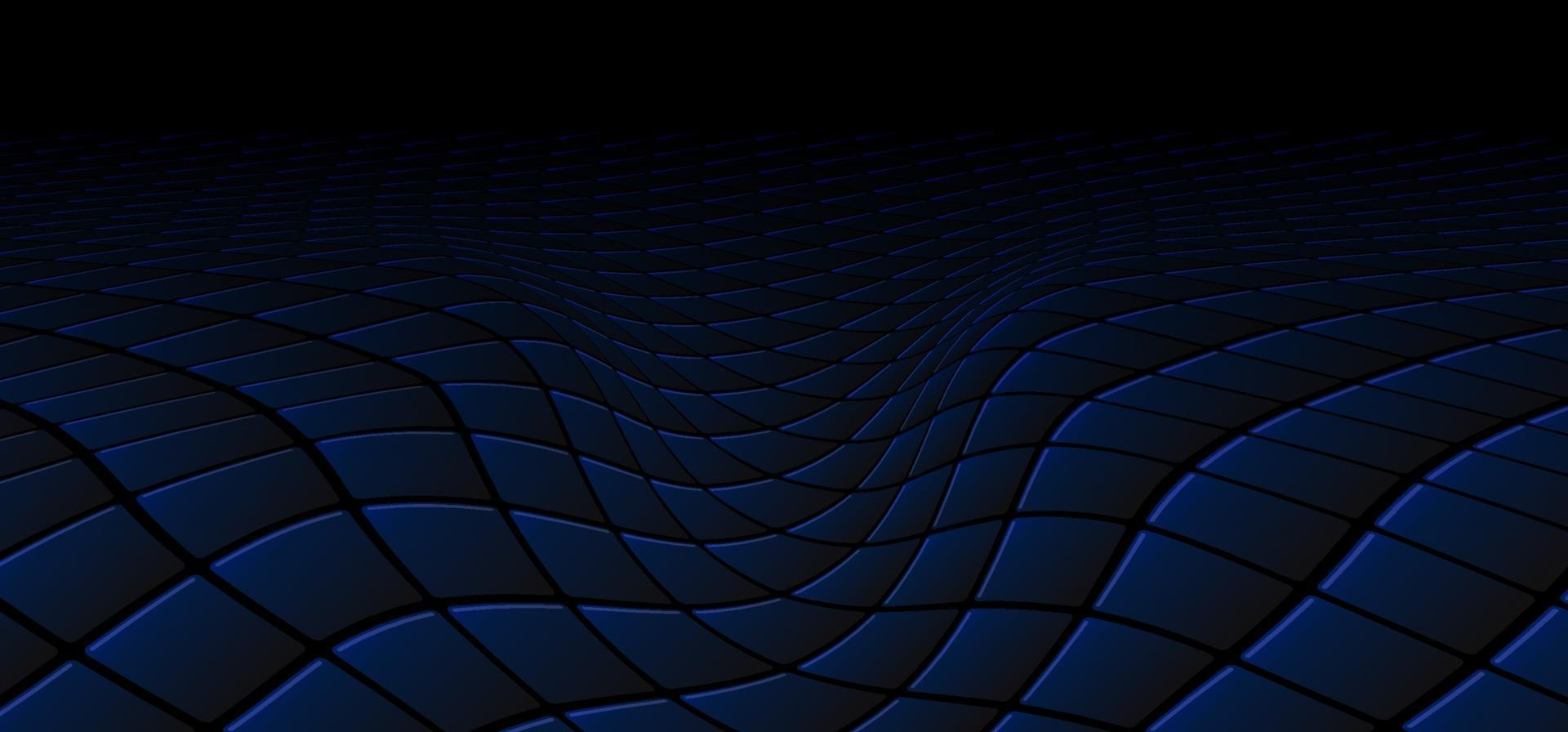 Abstract technology concept black and blue square pattern wave perspective background and texture vector