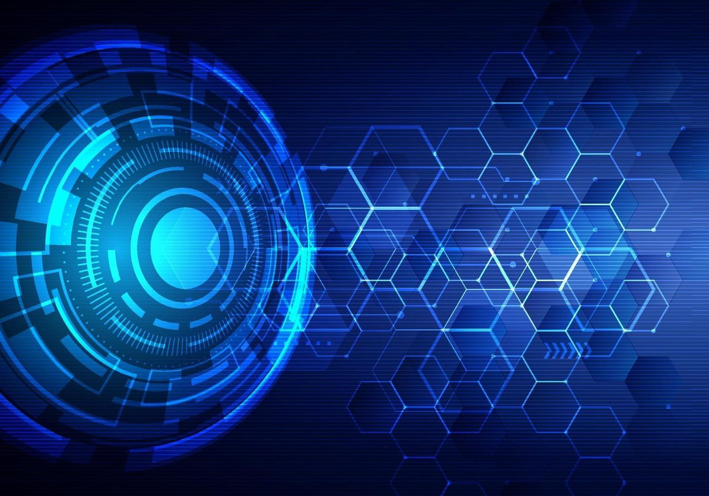 Abstract technology futuristic transfer digital data network to center concept. Blue circle internet tech background vector