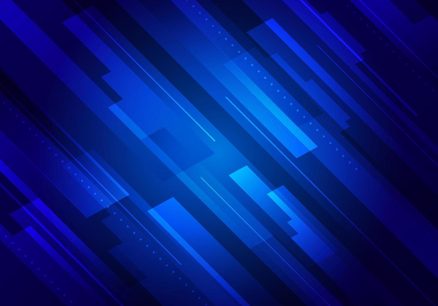 Abstract technology futuristic concept blue glowing diagonal stripes layered on dark background vector