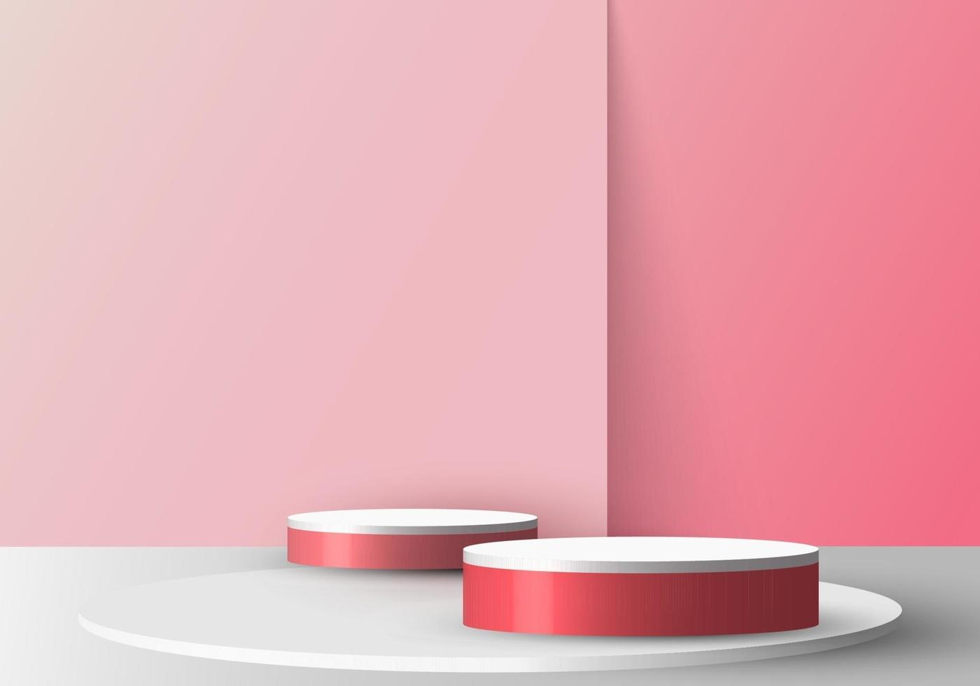 3D realistic empty red and white round pedestal mockup on soft pink backdrop vector