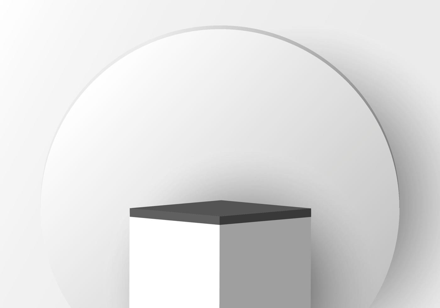 3D realistic white pedestal with black border and circle backdrop for product display vector