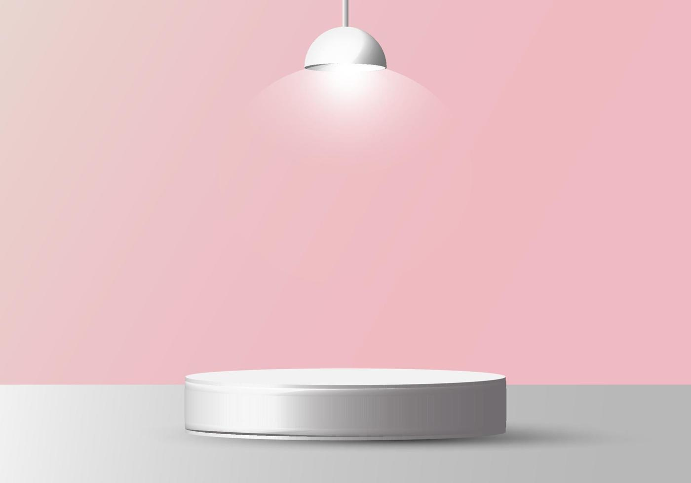 3D realistic empty white round pedestal mockup with lamp on soft pink background vector