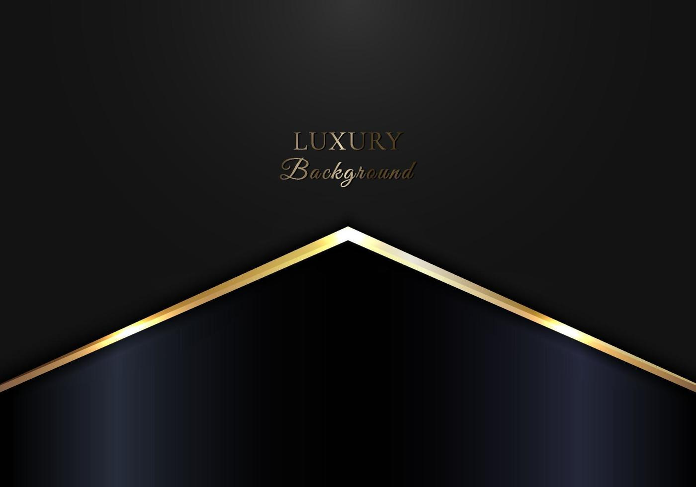 Elegant golden glowing triangle on black and blue background luxury concept vector