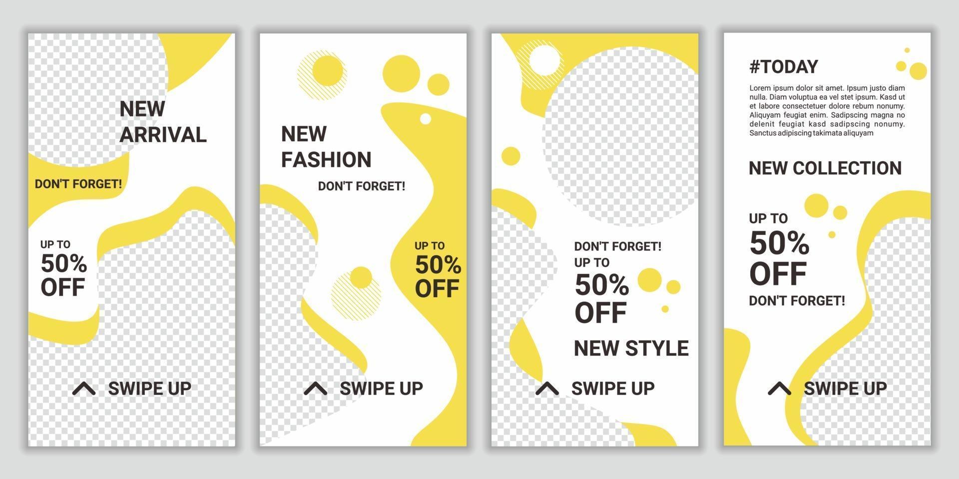 conjunto de fondos de diseño de plantillas de redes sociales para la promoción de venta de moda de historias de ig maqueta para blog personal, tienda o historia de usuario. mega gran venta de diseño vectorial en color amarillo y blanco vector