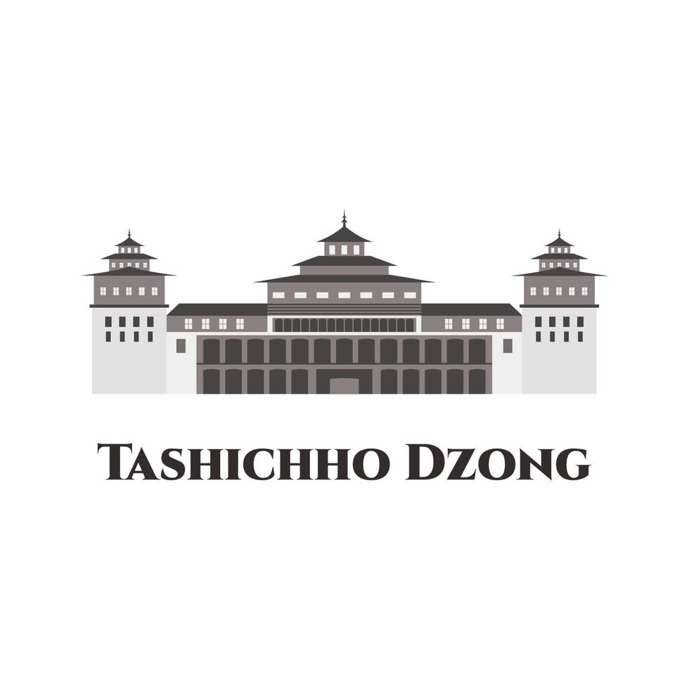 Tashichhoedzong in Buthan. A Buddhist monastery and fortress on the northern edge of the city of Thimphu. One of the best place to explore. This place must visit for tourist. Vector illustration