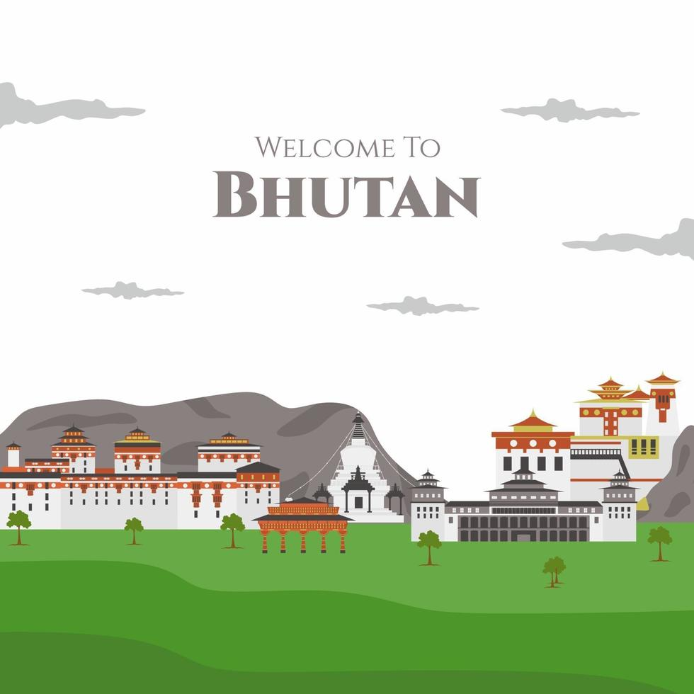 Welcome to Buthan vector flat illustration. with landmark buildings includes Paro Taktsang, Punakha Dzong, Tashichhoedzong, National Memorial Chhorten and Kyichu Lhakhang. Travel tourist vacation